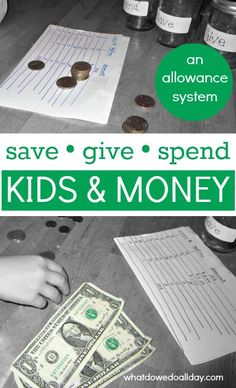 Starting allowance to help kids save and give as well as spend.