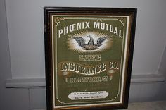 VINTAGE ANTIQUE PHOENIX MUTUAL LIFE INSURANCE SIGN HARTFORD CT. EARLY   ebay