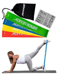 Exercise Bands – Set of 4 STRENGTHS – Resistance Band Ideal for muscle building Physio Pilates Yoga GYM AND Crossfit – Fitness Band – Exercise Resistance Band Loop Ribbon Loop Active Vikings) Yoga Pilates, Yoga Gym, Crossfit, Band Workout, Exercise Bands, Thing 1, Resistance Band Exercises, Trainer, Build Muscle