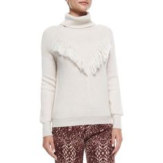 Haute Hippie Long-Sleeve Fringe-Detail Sweater ($131) ❤ liked on Polyvore featuring tops, sweaters, oatmeal, women's apparel sweaters, turtle neck sweater, turtleneck pullover, turtleneck top, fringe sweaters and turtle neck top