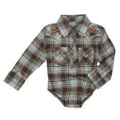 All Around Baby™ by Wrangler® -  Boy's Long Sleeve Bodysuit - Brown Multi