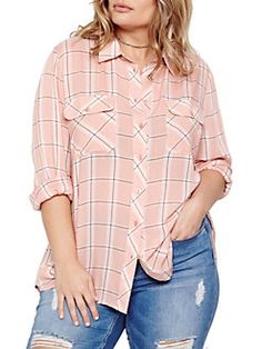 Addition Elle Love And Legend - Plus Long Sleeve Plaid Shirt