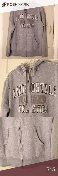 🌴NEW LISTING🌴 Aeropostale Hoodie Jacket Gray. Lined. Show signs of wear and wash. Cotton and polyester. Size XL. (1/4) Aeropostale Jackets & Coats Bomber & Varsity