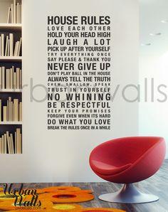 Vinyl Wall Decal Sticker Art, House Rules. $49.00, via Etsy.