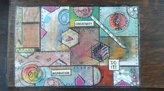 My first Altered box using gelli paper on cigar box.  This is the top view.