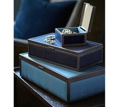 Rustic Luxe Jewelry Box - Blue | Pottery Barn