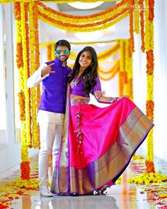 The Super Extravagant Telugu Wedding Replete With Glitz & Glamour Half Saree Lehenga, Saree Dress, Lehenga Dupatta, Anarkali Suits, Telugu Wedding, Saree Wedding, Wedding Lehanga, Bridal Lehenga, Wedding Wear