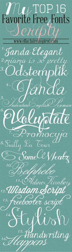 top 16 favorite free script fonts via @Jenny Batt