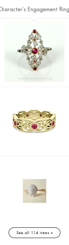 """""""Character's Engagement Rings"""" by thesassystewart on Polyvore featuring jewelry, rings, ruby jewellery, diamond jewellery, ruby diamond ring, ruby jewelry, diamond jewelry, 14k wedding ring, celtic knot ring and ruby wedding rings"""