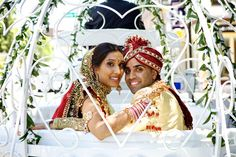 Photo by Radhika - traditional indian south Asian wedding during Vidai in our Cinderella Pumpkin Carriage  Morristown NJ  by Dream Horse Carriages www.carriagerentals.com
