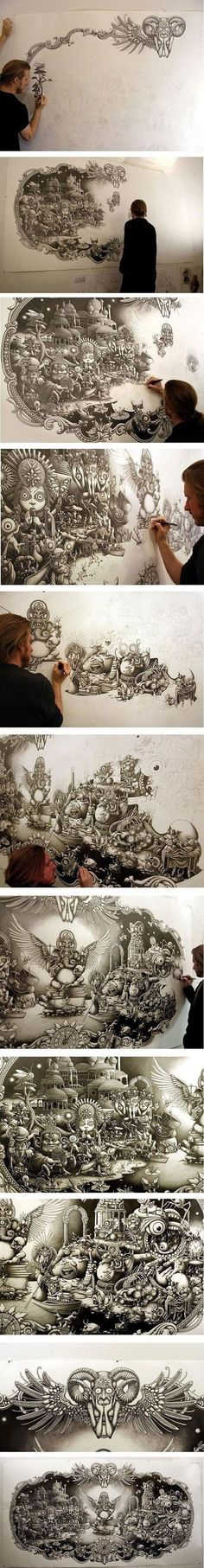 Amazing pencil art... Wow how do you even start something like this?: