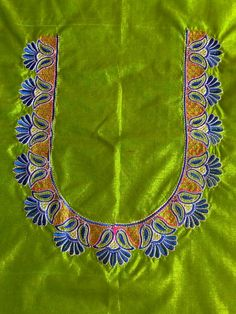 New embroidery blouse designs computerized ideas Cutwork Blouse Designs, Kids Blouse Designs, Hand Work Blouse Design, Simple Blouse Designs, Embroidery Neck Designs, Blouse Neck Designs, Neckline Designs, Embroidery Works, Simple Embroidery