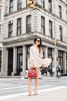 Spring Romance :: Ruffle dress & Rockstud spike bag