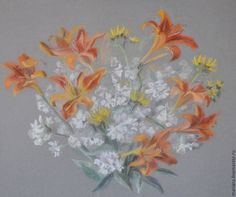 Купить Картина пастелью Лилии, мыльники и девясил - рыжий, лилии, натюрморт с цветами, полевые цветы