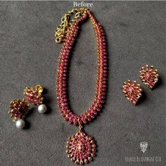 Amazing Gold Ruby Necklace Set From Arnav Jewellery ~ South India Jewels Ruby Necklace Designs, Gold Ruby Necklace, Gold Ring Designs, Necklace Set, Ruby Jewelry, Gold Necklaces, Simple Necklace, Stone Necklace, Bridal Jewelry