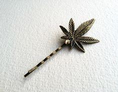 "Large 3"" Brass Marijuana Steampunk Hairpin with Swarovski Crystal - Victorian topaz gold amber cannabis ganja accessories hemp. $18.00, via Etsy."