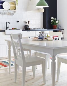 IKEA Fan Favorite: INGATORP/INGOLF table. Fans love this extendable dining table because the legs remain at each end of the table when extended, giving more room for chairs to go around.