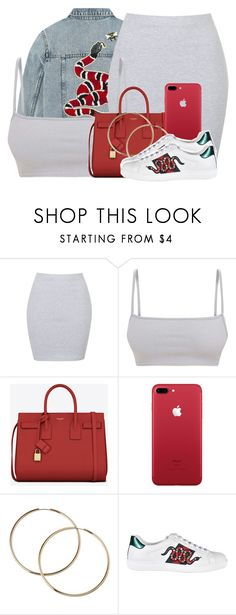 """Untitled #3003"" by alisha-caprise ❤ liked on Polyvore featuring Gucci, Annie Greenabelle and Yves Saint Laurent"