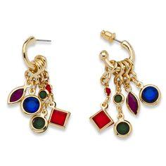 Multi-Colored Crystal Interchangeable Charm Hoop Earrings Yellow Gold Tone #PalmBeachJewelry #Hoop