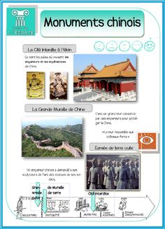 Monuments of China- Les monuments de Chine Monuments of China - French Poems, Asia Continent, Art Asiatique, Cycle 3, Preschool Lessons, Travel Set, Monuments, Classroom Themes, Teaching English