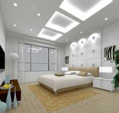Square Hidden Lighting Above Bed Design