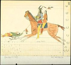 native american ledger drawing by Koba, 1875
