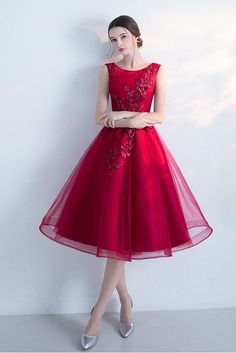 Sleeveless Cocktail Dress,A-line Tulle Short Prom Dresses,Wine Red Homecoming Dress,New Arrival Graduation Dresses,Fashion Dress With Flowers kleider Dresses Uk, Flower Dresses, Elegant Dresses, Pretty Dresses, Beautiful Dresses, Evening Dresses, Short Dresses, Fashion Dresses, Formal Dresses