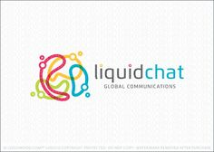 Logo for sale: Abstract chat bubble logo created with four irregular shaped communication speech bubbles that are posited together to create a circular shape. The liquid elements could also look like an abstract world design, with the individual elements creating the impression of the world's landmass.