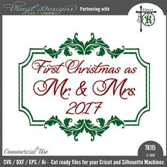 - First Christmas as Mr & Mrs Sold By business commercial useAvailable in SVG, DXF, EPS and PNG formats.Works in Cricut Designs space andSilhouette Studio Basic,Silhouette Designer Edition andSilhouette Business Edition Christmas Signs, First Christmas, Lettering Design, Hand Lettering, Silhouette Machine, Silhouette Designer Edition, Vinyl Designs, Mr Mrs, Cricut Design