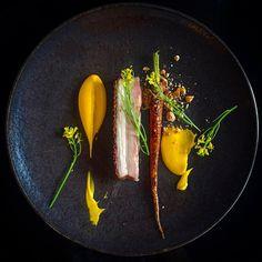 Pork belly, roasted hazelnuts & carrot. @ #philskitchennz