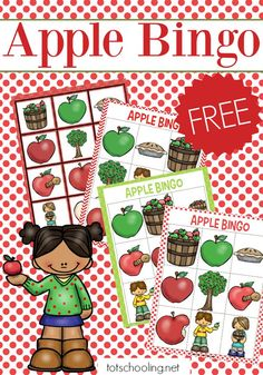 FREE printable Apple themed BINGO game for preschoolers, perfect for a Fall or Back to School board game.