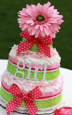 Diaper Cake with matching elements for the Perfect by PixieChicago, $135.00