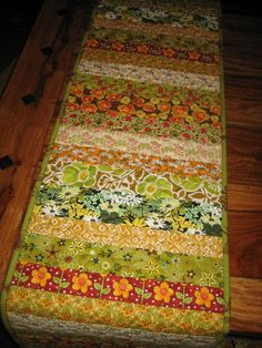 Table Runner Quilted Summer Green Yellow Orange by TahoeQuilts