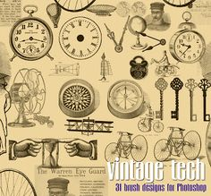 Vintage Download - Steampunk Brushes for Photoshop - The Graphics Fairy