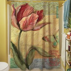 Found it at Wayfair - Sketchbook Floral Tulip Shower Curtain Transparent Flowers, Bathroom Ensembles, Cushion Pads, Outdoor Throw Pillows, Earth Tones, Joss And Main, Vibrant Colors, Floral, Prints