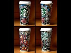My entry for the Starbucks white cup art contest. This cup was inspired by a remix of Somewhere Over The Rainbow by Thomas Jack. Starbucks Cup Drawing, Starbucks Cup Art, High School Drawing, Graphite Drawings, Pencil Drawings, Art Education, Education Quotes, White Cups, Inspiring Things