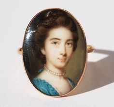 This portrait is of Philadelphia Austen elder sister of the Reverend George Austen and aunt of Jane Austen. A rare portrait miniature ring by the leading century miniature painter, John Smart [circa 1741 John Smith, Jane Austen, Antique Jewelry, Vintage Jewelry, Jewelry Art, Jewellery, Miniature Portraits, Miniature Paintings, Lovers Eyes