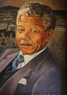 Nelson Rolihlahla Mandela b 18.7.2013. Painted portrait in Mandela House, Soweto, Johannesburg, South Africa.