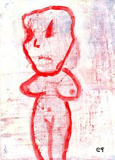 whitewash e9Art ACEO Outsider Art Brut Painting #OutsiderArt