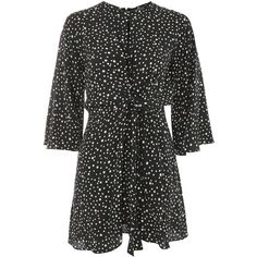 Topshop Petite Knot Front Mini Dress (100 BGN) ❤ liked on Polyvore featuring dresses, viscose dresses, spotted dress, polka dot mini dress, polka dot dress and petite dresses