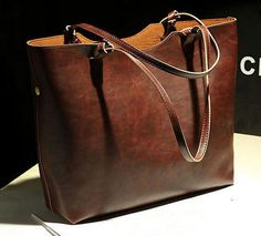 Authentic Fossil Genuine Leather Brown Tote Bag Carry on Purse ...