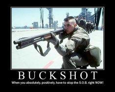 A United States Marine aims a Remington 870 magnum shotgun with magazine extension tubes. Photo : US Department Of Defense Military Jokes, Military Life, Army Memes, Army Humor, Military Service, Military History, Navy Seals, Trauma, Combat Shotgun