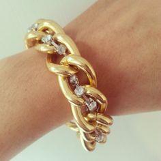 Gold Chunky Curb Chain Bracelet With Rhinestone by Est1984Jewelry, $15.00
