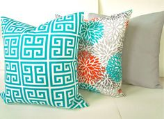Items similar to PILLOWS Orange Teal Throw Pillow Covers Outdoor Teal Turquoise Gray Throw pillow Covers Indoor Outdoor Pillows 16 18 . on Etsy Turquoise Throw Pillows, Teal Throws, Grey Throw Pillows, Throw Pillow Sets, Floor Pillows, Decorative Throw Pillows, Gray Bedroom, Trendy Bedroom, Shabby
