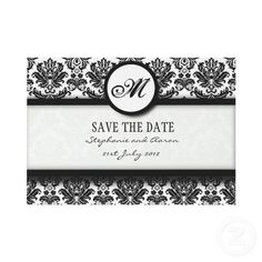 Customize your damask invitations with monograms and include on your other suite items
