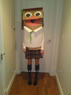 Original and Inexpensive School Girl Paper Bag Puppet Costume… Halloween Costume Contest