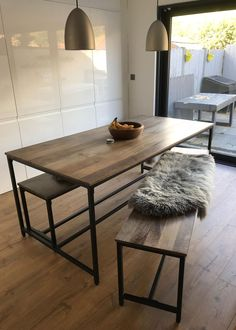This is Susan Murtagh's stylish dining room with sheepskins softening the benches. She says at a recent dinner party, everyone commented on how beautiful and soft they were. Dining Room, Dining Table, How Beautiful, Benches, Beach House, Fans, Dinner, Decoration, Stylish
