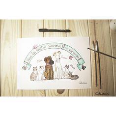 ¡VIVAN LAS FAMILIAS NUMEROSAS! Láminas personalizadas pintadas a mano en acuarela disponibles en www.celestianshop.com #lamina #perro #gato #pinterest
