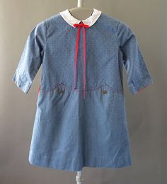 60s Girls - 1960s Vintage Little Girl Blue Dress with Red Accents by CatinasVintage on Etsy
