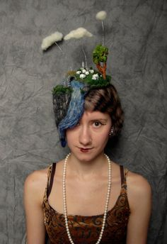 Needle Felted Fascinator Hat --  Because who doesn't need a miniature landscape on their head?
